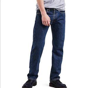 Levi's 505 dark stone wash jeans big tall 46x30
